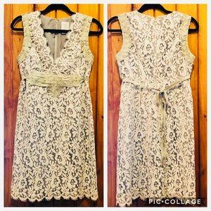 Anna Sui brocade lace empire tie back dress